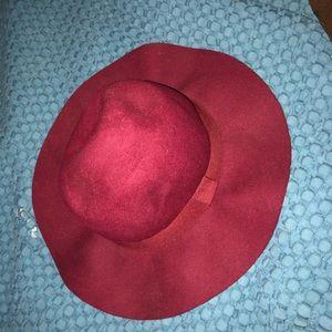 Red felt floppy hat